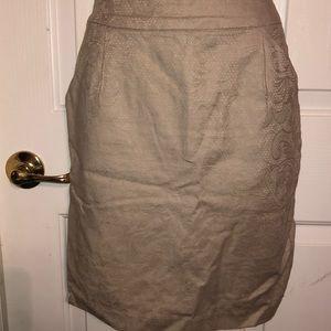 Cream Pencil Skirt Floral Paisley Design Pockets